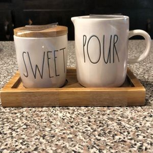 Rae Dunn SWEET POUR table set on wooden tray NEW!